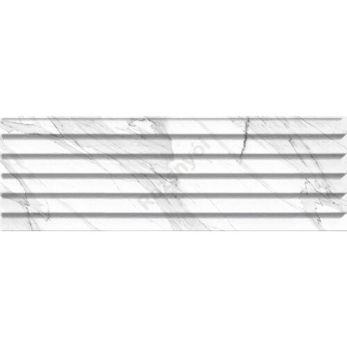 Carrara  Relieve Stripe Carrara Blanco Brillo 20x60 csempe