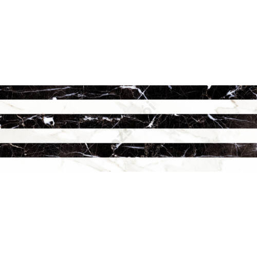Carrara Relieve Stripe Albinegro Brillo 20x60 csempe
